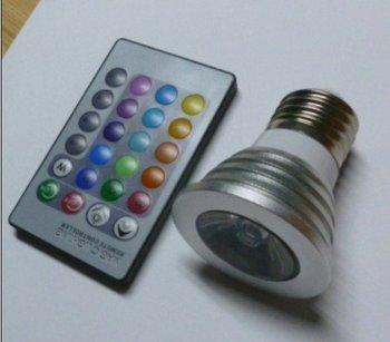 Wholesale - High Quality E27 3W LED Light Bulb Colorful Rotating Stage Light RGB Bulb  AC85V-265V LED Spotlight