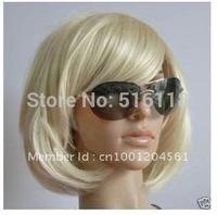 Elegant short blonde mixed Kanekalon synthetic fibre hair wig/wigs+cap net