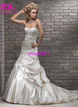 free shipping 2013 new ladies elegance long train muslim wedding bridal dresses