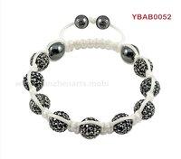 fashion shamballa white sttring with black crystal skull wholesale