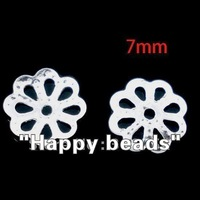 Free Shipping 2000pcs Silver Plated Flower Spacer Beads 7mm(W00580)