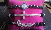Free Shipping Crystal Cross Bracelet Love and evil eye bracelet set BS006