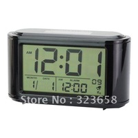 Free Shipping SL1900 LCD Thermometer Calendar Solar & Battery Power Alarm Clock Black