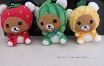 Kawaii Plush Stuffed TOY; New Sitting 11CM Fruit Rilakkuma Bear; Soft Figure ; Key Chain Design ; BAG Pendant Charm 21PCS
