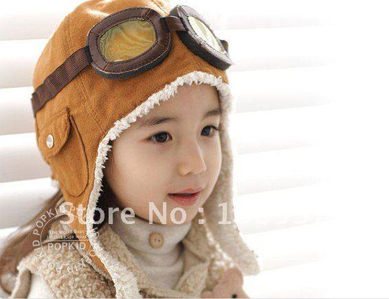 5pcs/lot Baby Pilot Fur Hat Boy's Outdoor Ski Snow Hats Warm Earflap Cap Free Shipping(China (Mainland))