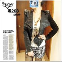 free shipping autumn shalang fashion punk rivet slim motorcycle leather clothing female coat jacket
