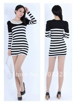 Striped long-sleeved dress Autumn and winter new product/Ms. Clothes -5