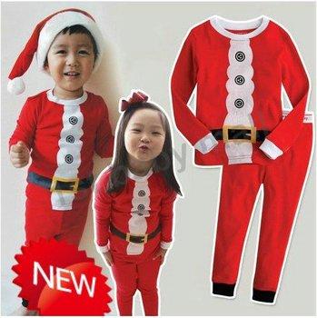 free shipping! 6sets baby girls/boys' sleepwear Christmas pajamas set red color cotton homewear night gowns Xmas pajamas