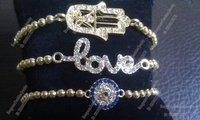 Free Shipping Gold Plated Love Bracelet Hamsa Hand, Evil Eye Bracelet BS011