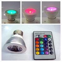 wholesale Led lighting E27 3W RGB led lighting cup spotlights 16 heterochrosis lamp remote control lamp ktv light