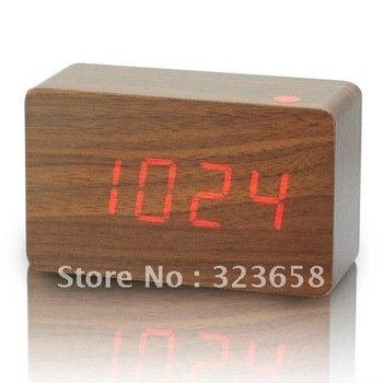 Free shipping Red LED Wood Wooden Digital Alarm Clock DC input/USB/battery+ Temperature