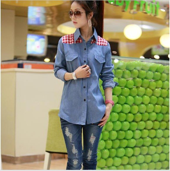New Korean jeans long sleeves shirt, plaid in shoulders only, pocket in chest(China (Mainland))