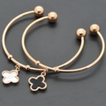 Accessories fashion four leaf clover shell bracelet bangles rose gold bracelet