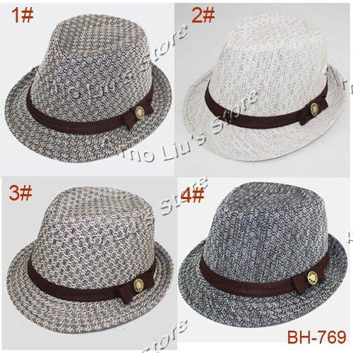 Kids Fedoras Baby Fedora Hat Children Linen Cowboy Hat Boys Spring/Autumn Jazz Cap Dicers 10pcs Free Shipping(China (Mainland))