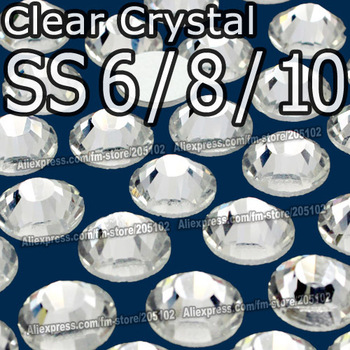 SS6 SS8 SS10,1440pcs/bag Non HotFix FlatBack white clear Rhinestones,Clear DMC Glue-on loose nail glitters crystals stones