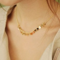 Personalized all-match paillette small skull necklace multi-layer female short design chain 6g