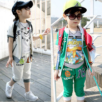 wholesale 5pcs/lot - summer digital 18 boys clothing girls clothing baby casual set tz-0438