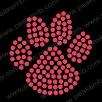 Free Shipping 50pcs/Lot Small Size Paw Bling Rhinestone Transfers Iron On Motif Custom Design Available