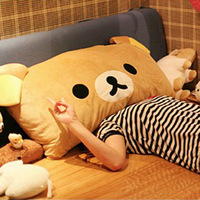 Retail Rilakkuma bear pillow easy bear pillow  cushion double Ears cartoon pillow 35*25CM
