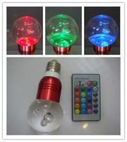 whole sale 220V E27 3w led rgb crystal acrylic ball lights energy saving lamp remote control lamp ktv decoration lamp