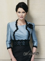 Beautiful 3/4 Sleeves Bolero Lace Appliqued Black Blue Taffeta Mother of Bride Dresses Gown HL-EN926