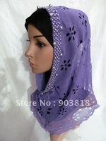free shipping silk carve patterns hand-made beads muslim higabs,arab scarf,islamic scarf,kerchief,islamic hijab,scarves A-tt078