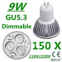 150pcs Dimmable High power GU5.3 3x3W 9W 110V/220V led Light Lamp Downlight led bulb spotlight Free shipping UPS FEDEX and DHL