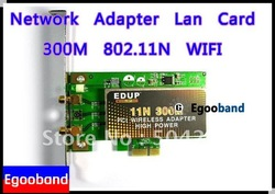 NEW!!! EDUP 300Mbps 802.11N WIFI PCI Wireless N Network Adapter Lan Card with 2 Antennas(China (Mainland))