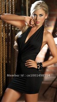 Free Shipping 2012 Cheap Open String Back Tank Style Black Mini Dress
