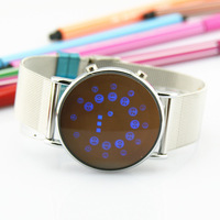 Promotion Ultra-thin personality led swivel plate watch fashion vintage lovers watch Free shipping