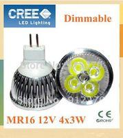 10X  Free shipping  MR16 4x3W 12W 12V lamp light Bulb LED Downlight Led light Led Bulb Warm/Cool/Pure White