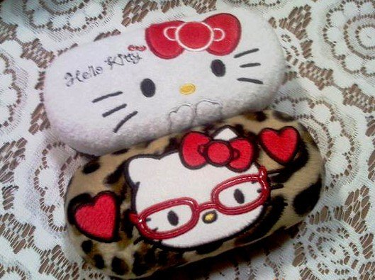 Wholesale Hello Kitty Eyeglasses Case, Glasses Case, Eyewear Hard Reading Case,with Absortion, 6pcs/Lot(China (Mainland))