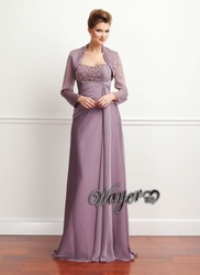 High Quality Beautiful Long Sleeve Beaded Chiffon Evening Dresses HL-EN938(China (Mainland))