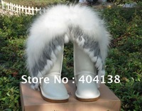 Drop shipping 12 colors genuine leather women shoes Sexy winter inside Fur Plush Mid Calf snow Boots plus size 35-43