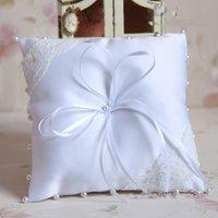 Free Shipping White Ring Pillow Bearer Cushion for Wedding
