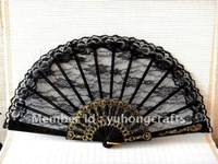 100pcs/lot free shipping black lace fan,wedding lace fan,lace hand fan