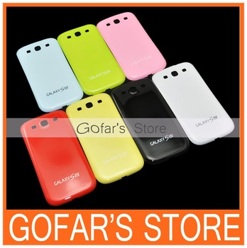 For Samsung Galaxy S3 i9300 Glossy Candy Plastic Battery Back Case 100pcs/Lot Colors for Choice