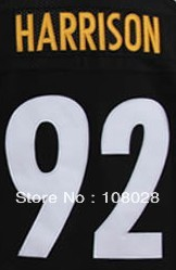 Free Shipping #92 James Harrison Men&#39;s Authentic Elite Football Jersey,Embroidery logos,size M-3XL(China (Mainland))