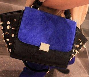 Free Shipping, A/W Fashion Punk Style Rhinestone Rivet Color Block Decoration Cowhide Messenger Bag, Promotion! QQ1611