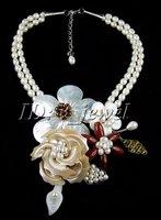 Red jasper jade shell pearl flower necklace/earring VJ