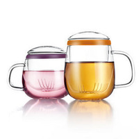 J11691 vatiri cup glass lovers three pieces cup filter mesh flower tea cup