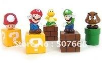 New Super Mario Brothers mini figures bundle Blocks 5pcs Mario, Goomba, Luigi, Koopa Troopa, and Mushroom PVC toys