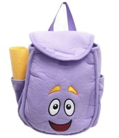 "Wholesale 6pcs light Purple Toddler Dora the Explorer ""Backpack"" Mr Face Plush Backpack Shool Bag Retail"