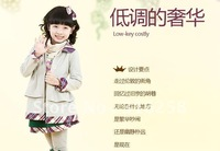 Girl han trench coat 100% combed cotton children dust coat girl autumn outfit 2012 new coat