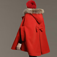 12 Women wool coat cloak overcoat fur collar cloak woolen outerwear cape