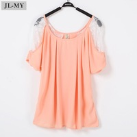 Y010 2012 summer plus size loose o-neck short-sleeve lace shirt chiffon shirt women pullover top