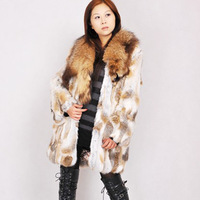 Free shipping, 2012 big raccoon long design outerwear rabbit fur overcoat women's fur