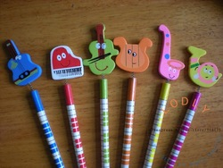 children's cartoon musical instrument standard wood pencils, pe121024-36 stationery, wholesale & retail, spring, great gift(China (Mainland))