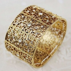 Free Shipping 2012 New Arrivals Fashion Bangles Hot Wholesale Crystal Gold Plated Stretch Bangle Bracelet Fashion Bracelet(China (Mainland))