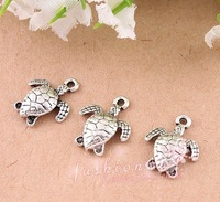 100 Pcs  Ancient Silver Plated Lovely Sea Turtle Charms 12mmx15mm (1498)